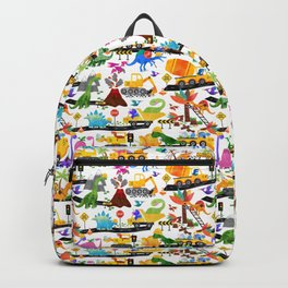 Watercolor Dinosaur Construction Crew Backpack