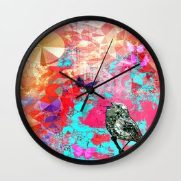 THE NIGHTINGALE SINGS TO THE MOON Wall Clock