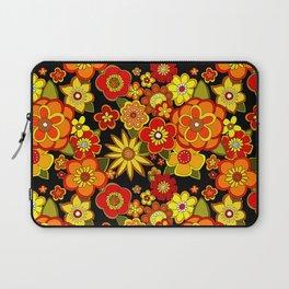 Super groovy flowers Black base orange Laptop Sleeve