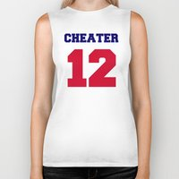 patriots Biker Tanks featuring Tom Brady Cheater  by All Surfaces Design