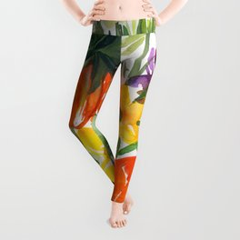 daffodils and hyacinths: watercolor painting Leggings