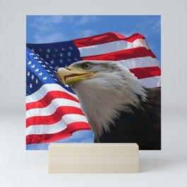 American Flag and Bald Eagle Mini Art Print