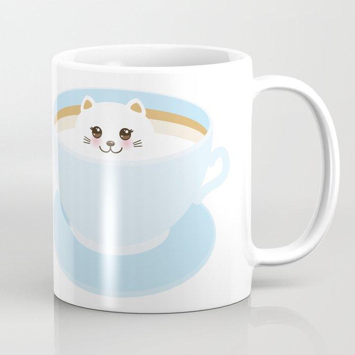 Cute Kawai cat in blue cup Coffee Mug