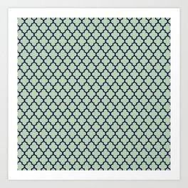 Modern mint green navy blue moroccan quatrefoil Art Print