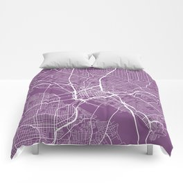 Dallas Map, USA - Purple Comforters