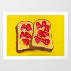 Strawberry Toast Art Print