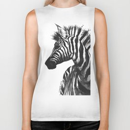 Zebra head - watercolor art Biker Tank