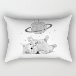 Cute baby cat with a ball of yarn planet Rectangular Pillow