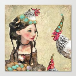 Three French Hens Canvas Print