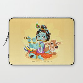 Baby Krishna with sacred cow Laptop Sleeve