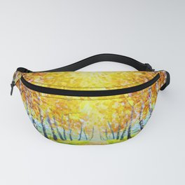 Autumn theme Painting oil - alley of autumn trees  - modern art impressionism abstract landscape art Fanny Pack