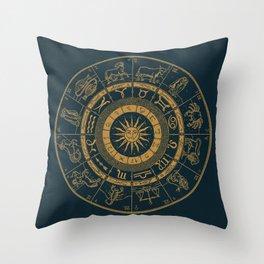 Vintage Zodiac & Astrology Chart | Royal Blue & Gold Throw Pillow