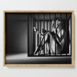 Nude Woman locked in a steel cage Serving Tray