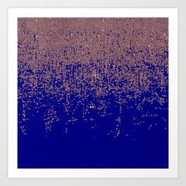 Glamorous Rose Gold Cobalt Blue Glitter Ombre Art Print