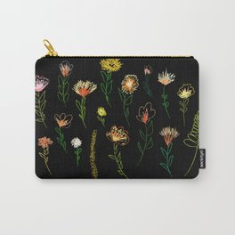 Embroidered effect flower drawings. Posters or cards. Vector. Black background.Covers, flyers, banne Carry-All Pouch