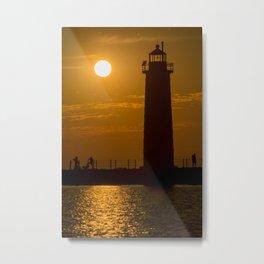 Summer Sunset Muskegon Lighthouse Silhouette Lake Michigan Metal Print