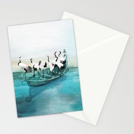 White Cranes Stationery Cards