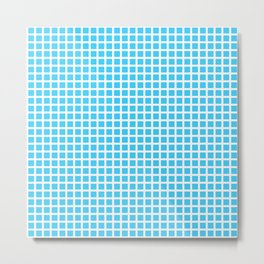 White On Blue Grid Metal Print