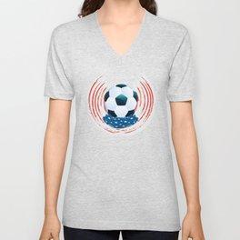 Football Ball and red, white Strokes Unisex V-Neck