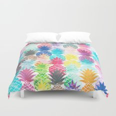 Hawaiian Pineapple Pattern Tropical Watercolor Duvet Cover