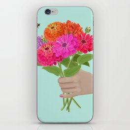 Be Kind Hand Giving Zinnia Flower Bouquet with Bumble Bee iPhone Skin