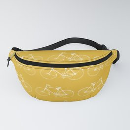 Saffron-Yellow Vintage Bicycle Pattern Fanny Pack