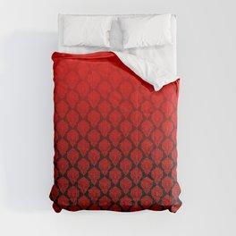 Black and Red Pentagram Damask Pattern Comforters