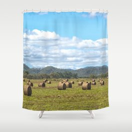 Hay bales on a sunny day Shower Curtain