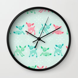 Pink, Turquoise, and Jadeite Deer Wall Clock
