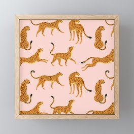Leopard jaguar pink memphis pattern Framed Mini Art Print