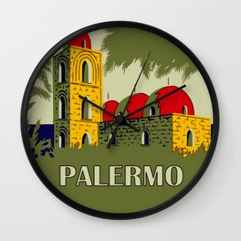 Retro Palermo Sicily hotel travel ad Wall Clock