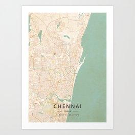 Chennai, India - Vintage Map Art Print