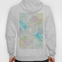 colorful pastel butterfly pattern, woman fashion Hoody