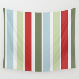 Christmas Stripes Red Blue Green and White Wall Tapestry