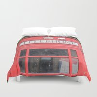 telephone Duvet Covers featuring Telephone Booth by Certified Cat