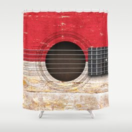 Old Vintage Acoustic Guitar with Indonesian Flag Shower Curtain