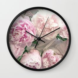 Shabby Chic Pastel Pink Peonies Wall Art - Peonies Home Decor Wall Clock