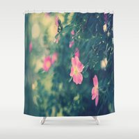 central park Shower Curtains featuring Central Park Roses by The Dreamery