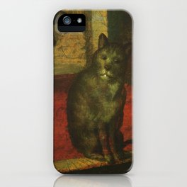 Cat in the art – Aertsen – vegetable and fruit stand- detail iPhone Case
