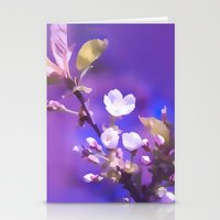 cherry blossoms Stationery Cards featuring CHERRY BLOSSOMS by VIAINA