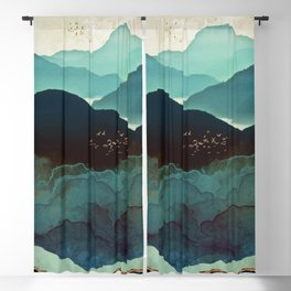 Indigo Mountains Blackout Curtain
