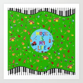 Music is my life (Green) Art Print