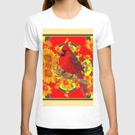 RED CARDINAL SUNFLOWERS ON CREAM ART T-shirt