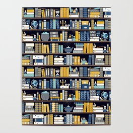 Book Case Pattern - Blue Yellow Poster