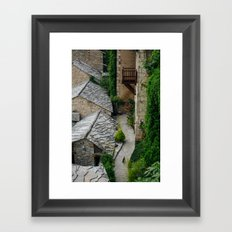 Old town and a cat Framed Art Print