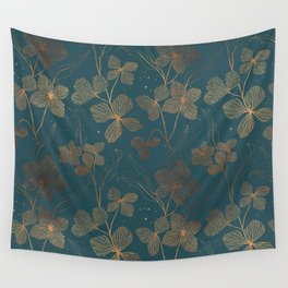 Copper Art Deco Flowers on Emerald  Wall Tapestry
