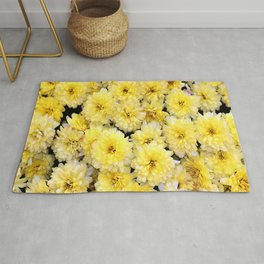 Romantic Bright pastell yellow blooming and blossom chrysanthemums flowers  Rug