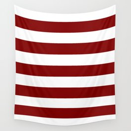 Maroon (HTML/CSS) - solid color - white stripes pattern Wall Tapestry