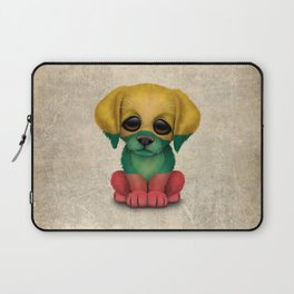 Cute Puppy Dog with flag of Lithuania Laptop Sleeve