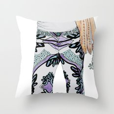 peace sign skeleton Throw Pillow